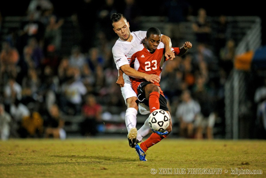 Clayton State University midfielder Elliott Prost in action.