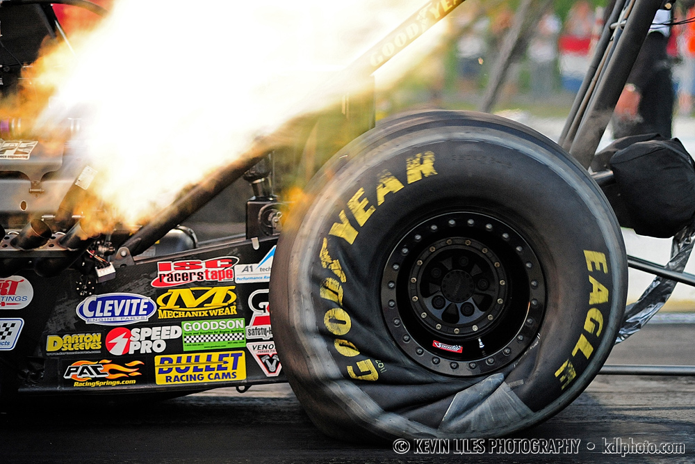 A top-fuel dragster takes off at Atlanta Motor Speedway in Commerce, GA.