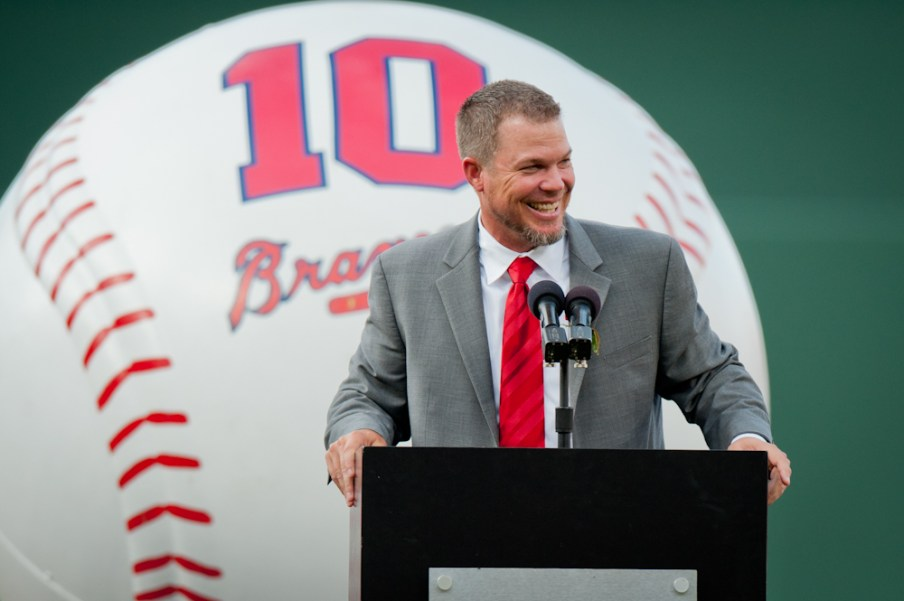 Former Atlanta Braves third baseman Chipper Jones during a ceremony retiring his number at Turner Field.