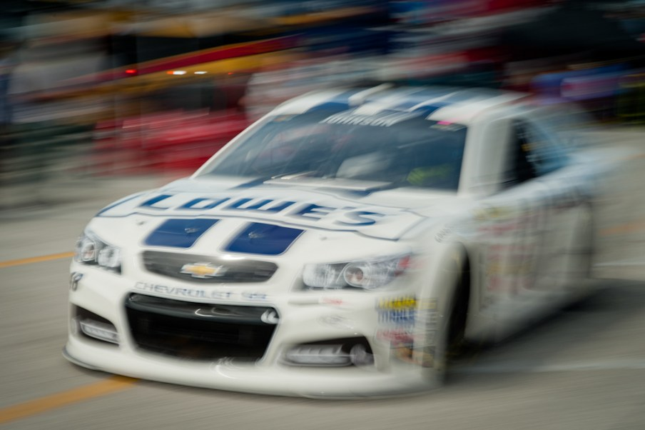 NASCAR Sprint Cup Series driver Jimmie Johnson (48) leads during the Coke Zero 400 at Daytona International Speedway.