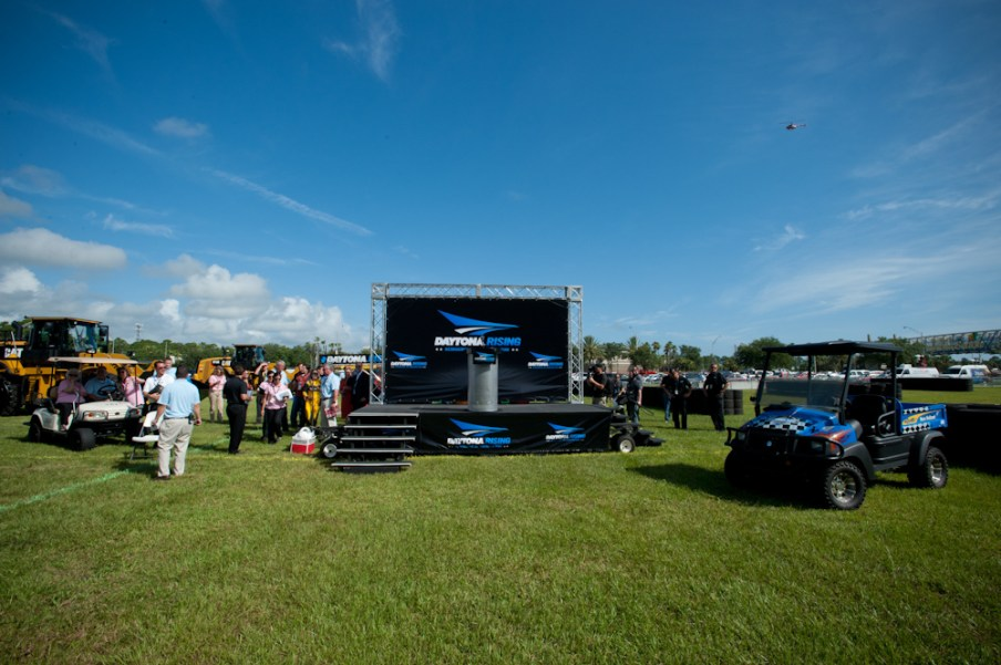The stage prior to the Daytona Rising 500, a ceremony marking the groundbreaking of an expansion at Daytona International Speedway.