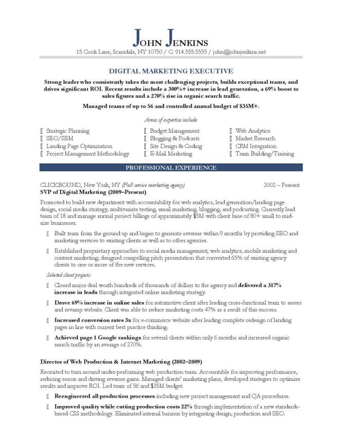 marketing resume samples resume sample