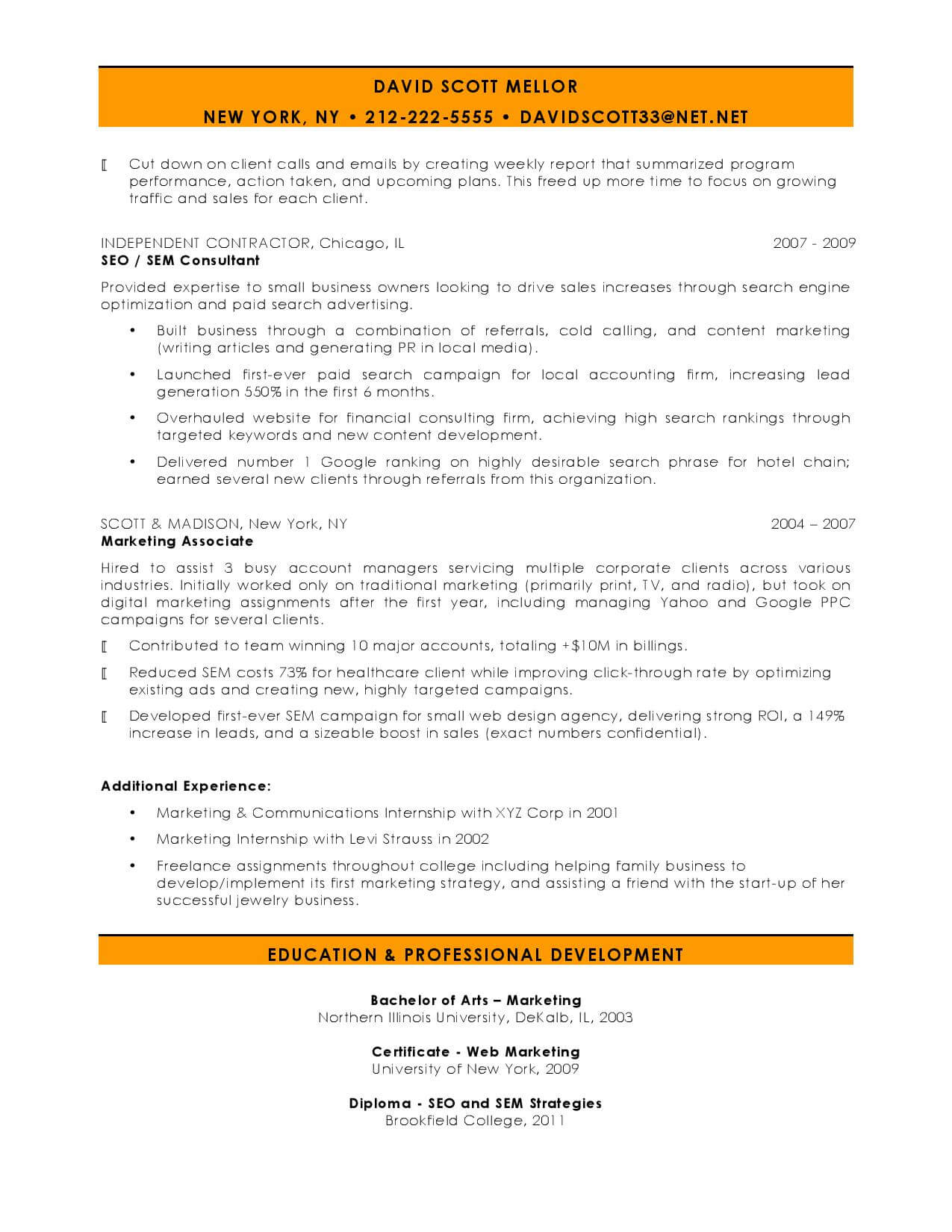 Personal Marketing Resume Seo Manager Page 002 Sidekick By Kickresume