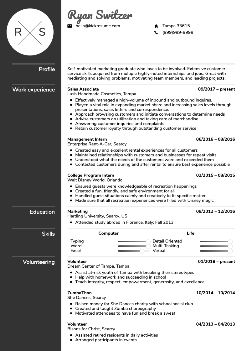 resume example bullet points