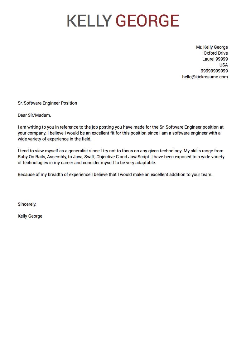 sample of cover letter for resume 2018