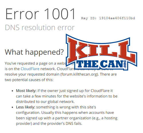 KillTheCan.org Forum Issues