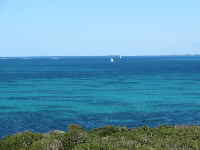Sailboats out on the Sea of Abaco