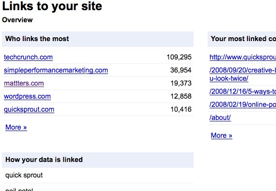 google webmaster tools links to your site