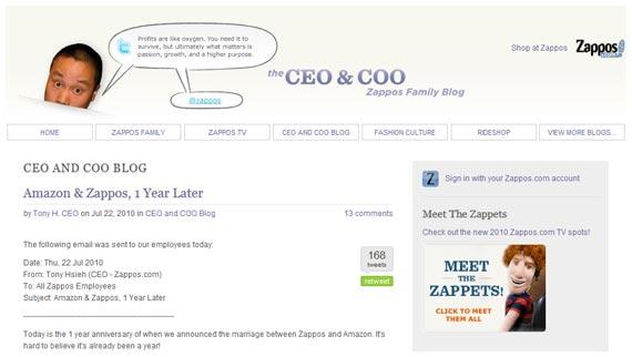 zappos ceo coo blog
