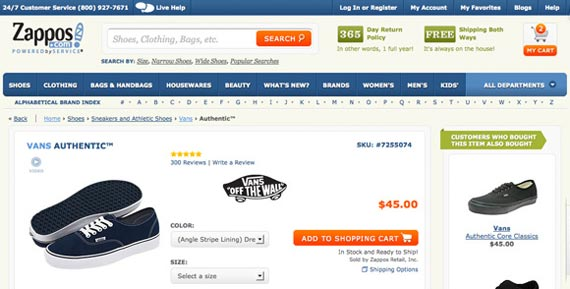 Zappos ecommerce conversion example