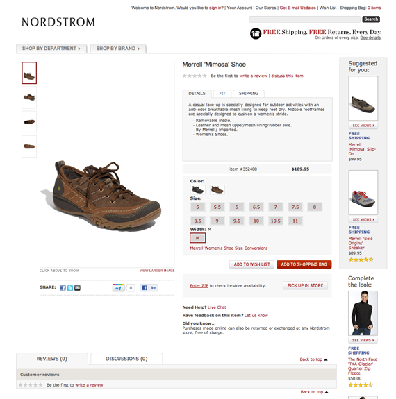 nordstroms ecommerce product page example