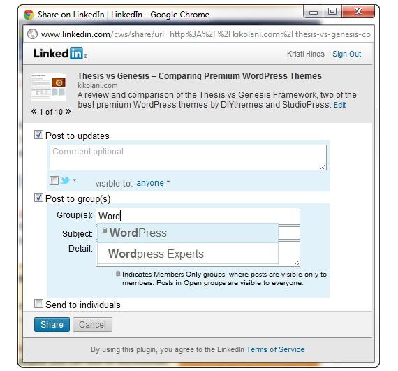 linkedin botão de compartilhamento para os editores