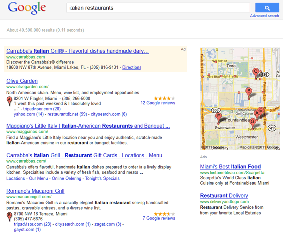 Search for italian restaurants in Florida