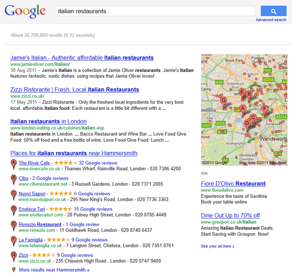search results for italian restaurant in United Kingdom