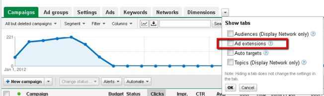 google campaigns ad extension location