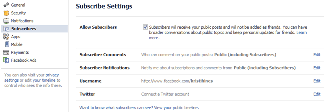 Facebook personal profile subscriber settings