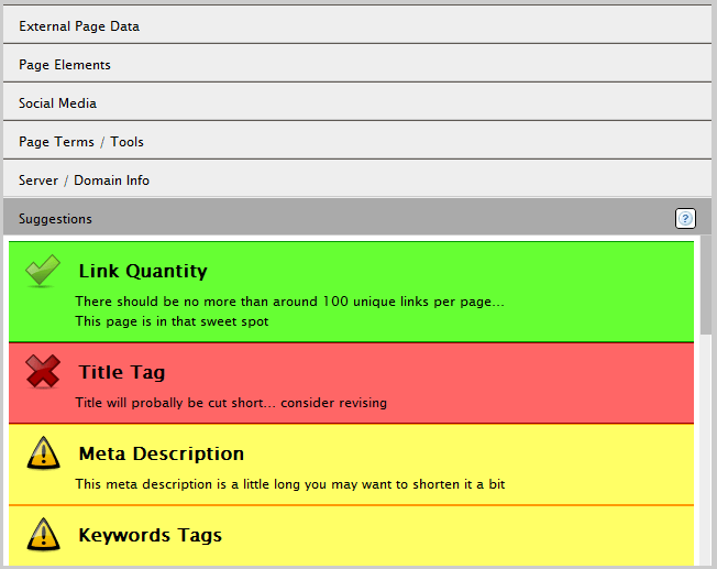 google chrome seo site tools suggestions