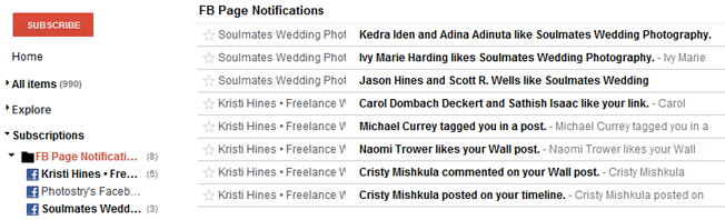 new facebook pages notifications rss