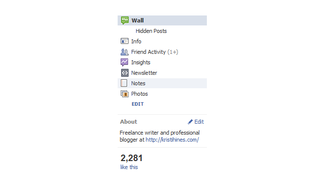 old facebook page about section
