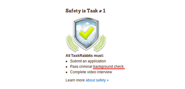 safety at taskrabbit