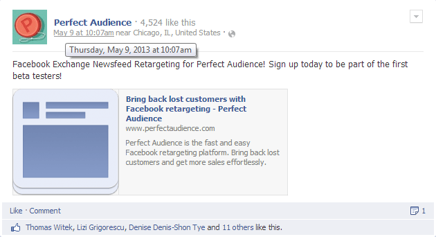 Perfect Audience Beta FBX Newsfeed Ad