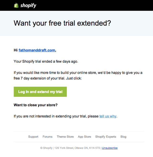great example from Shopify behavioral email marketing