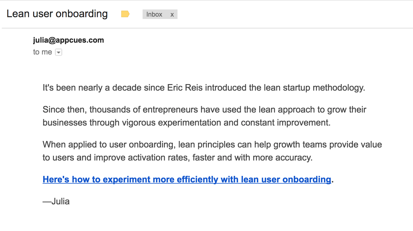 appcues lean user onboarding email version 2