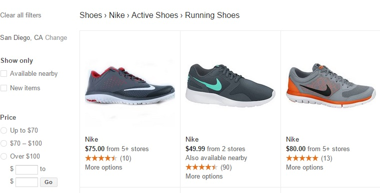 shoes results google shopping