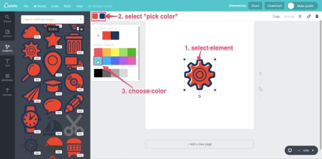 changing color in canva logo creation