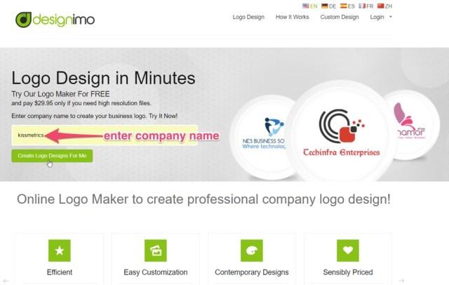 enter company name in designimo