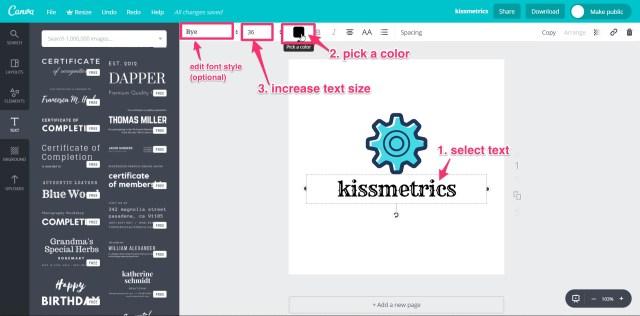 kissmetrics canva logo creation editing