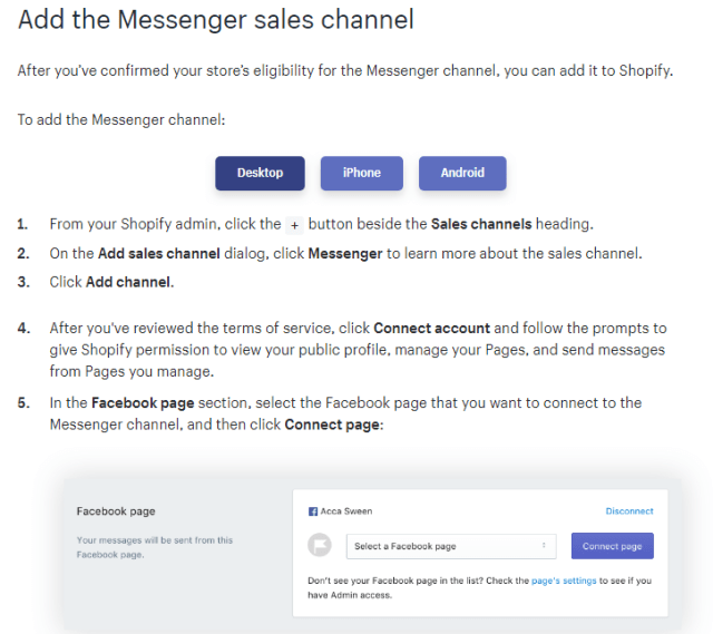 add the messenger sales channel