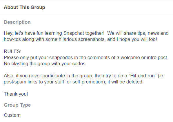 facebook about this group