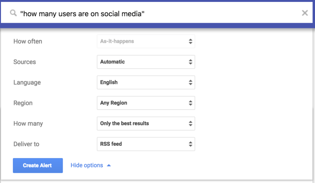 google alerts for social media