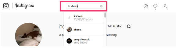 instagram search for shoes