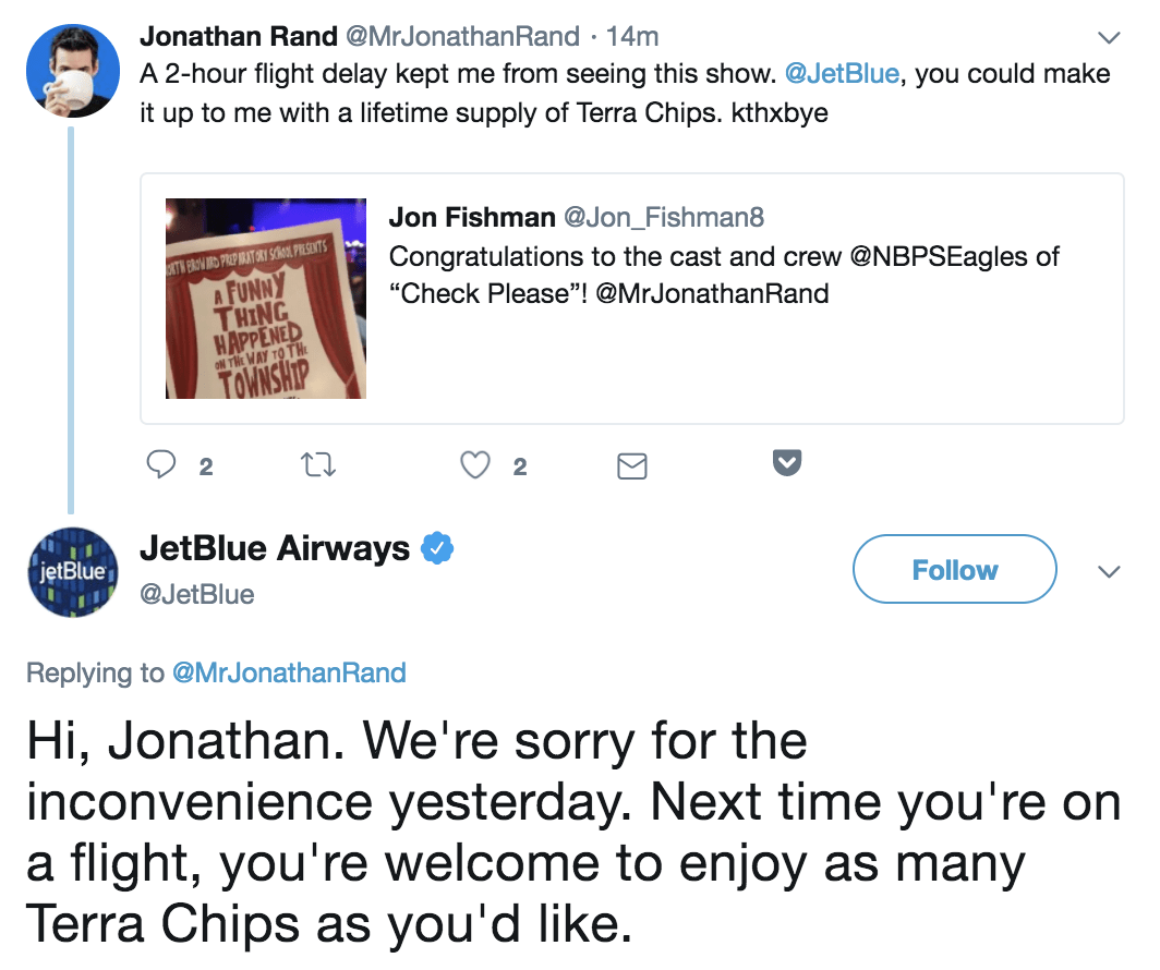 jetblue customer service on twitter