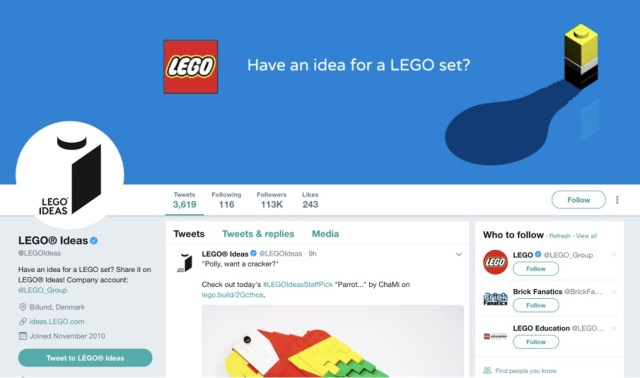 lego facebook page in 2018