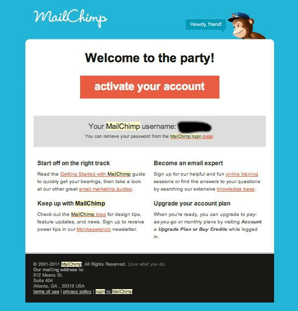 mailchimp welcome to the party onboarding email