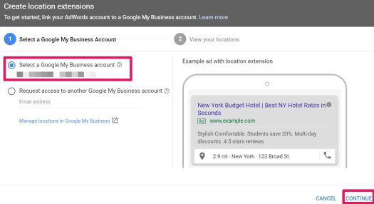 select a google my business account