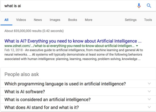 what is ai google search results