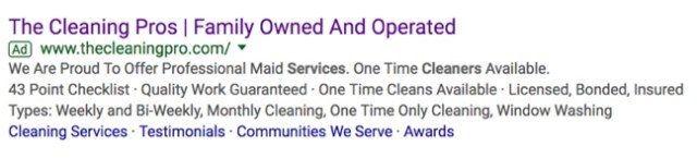 cleaning services in seattle google search advertisement