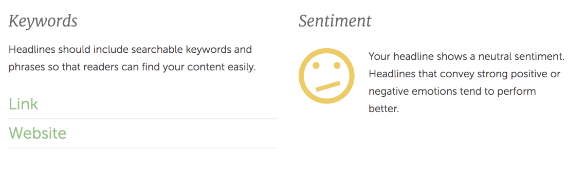 headline keywords and sentiment