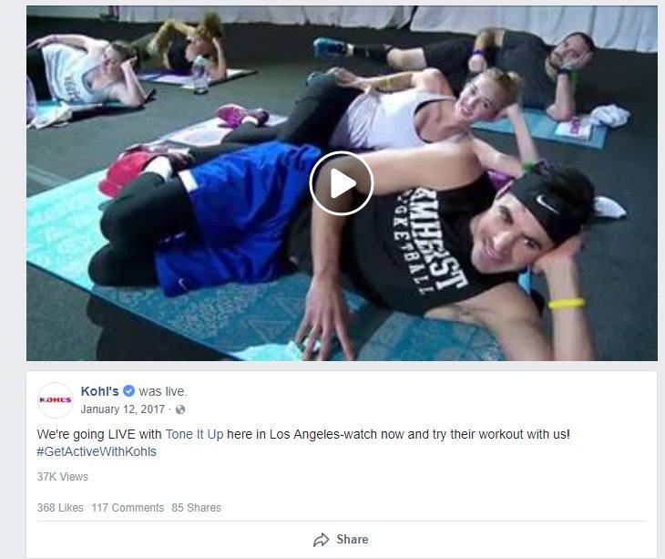 kohls live facebook video