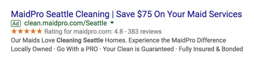 maidpro seattle cleaning google search advertisement