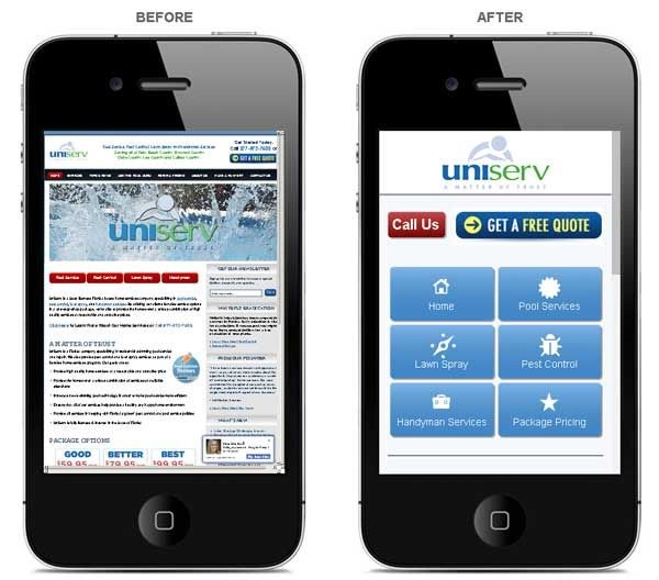 mobile page design before and after