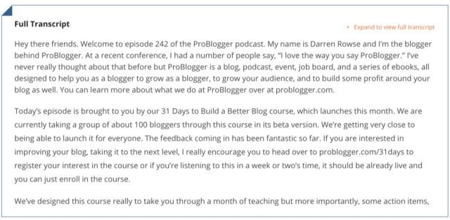 problogger podcast episode transcript