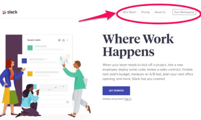 slack website navigation bar