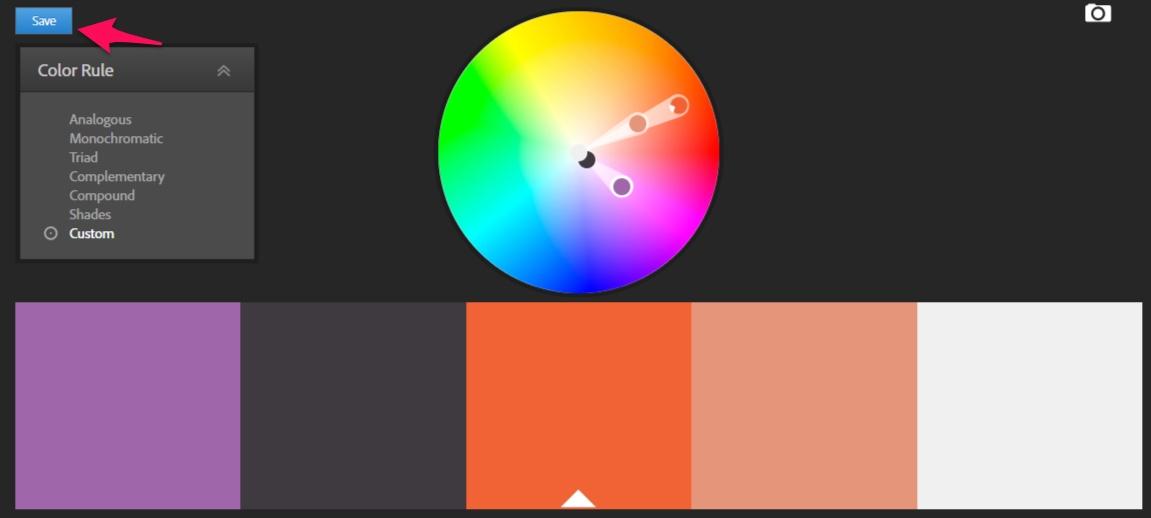 adobe color cc save button