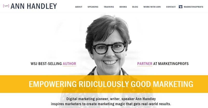 ann handley homepage in 2018