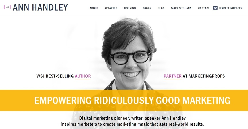 ann handley homepage in 2018